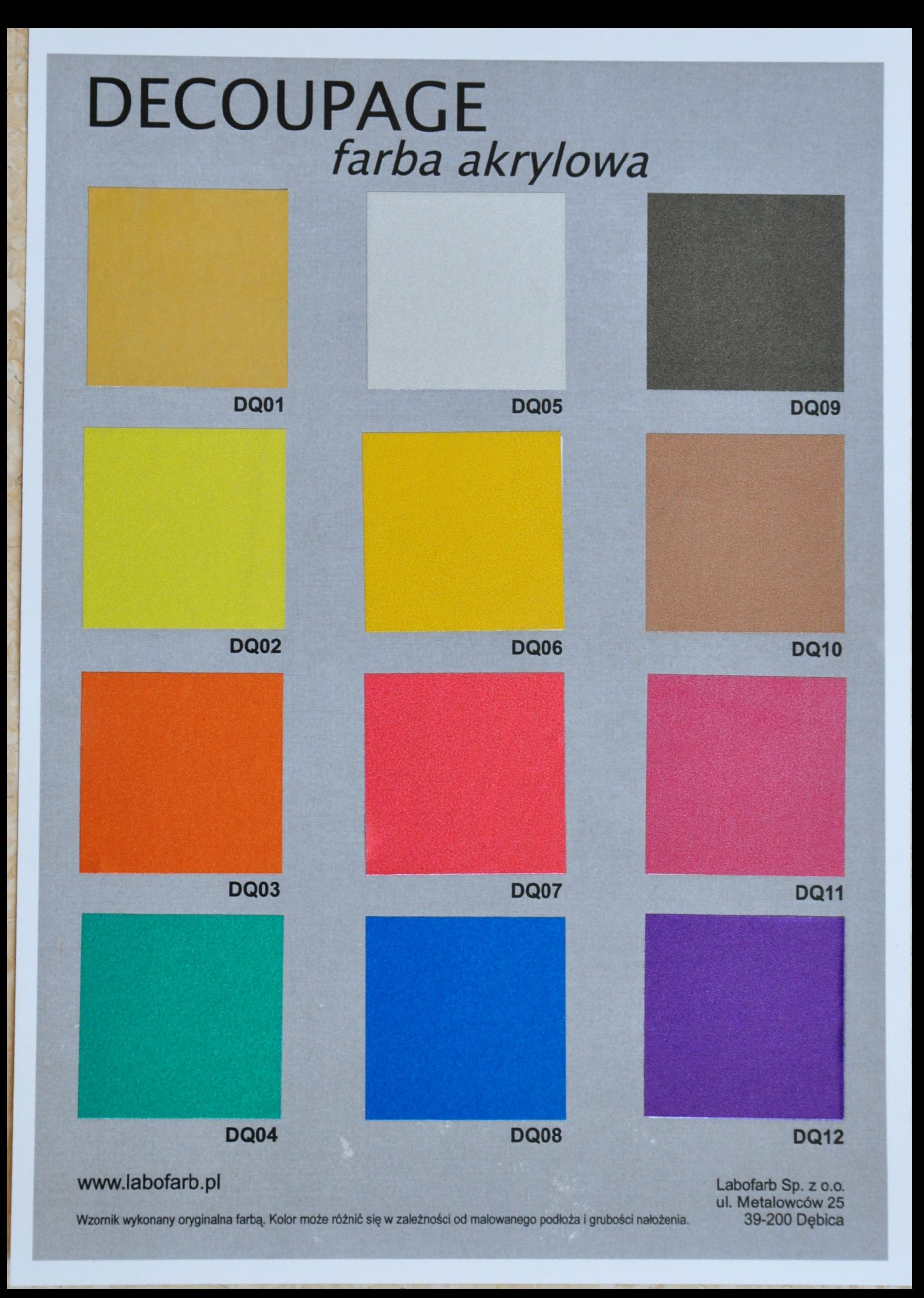 Paleta kolorów HQ DECOUPAGE
